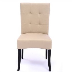 Seriena Melbourne Tufted Back Dining Chair in Beige Leather, ivory leather dining chairs, tufted dining chairs, luxury dining chairs, leather dining chair, dining room chairs leather, leather dining chairs for sale, dining room chairs upholstered