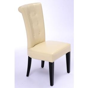 Seriena Tufted Back Dining Chair in Beige Leather, Beige leather dining chairs, tufted dining chairs, luxury dining chairs, leather dining chair, dining room chairs leather, leather dining chairs for sale, dining room chairs upholstered
