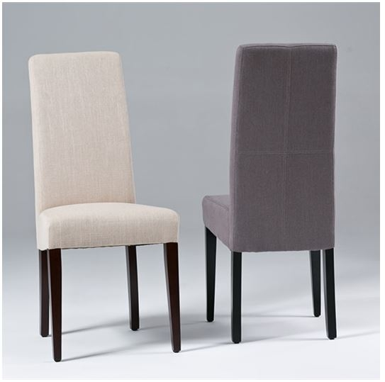Seriena High Back Dining Chair In Beige Gray Linen
