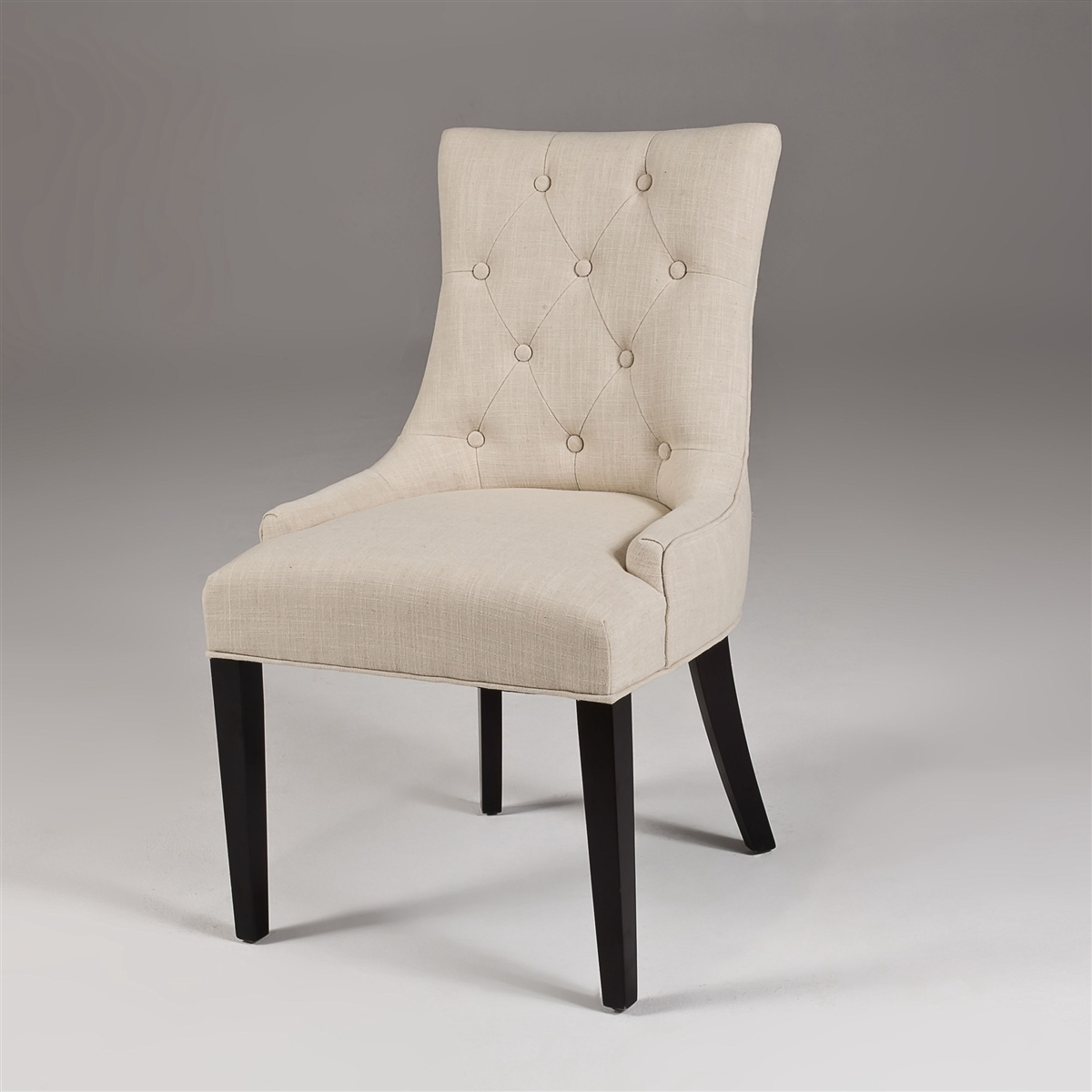 Marvelous Seriena La Rochelle White Beige Linen Dining Chair With Tufted Back Barrel Curved Back Fully Assembled Ncnpc Chair Design For Home Ncnpcorg