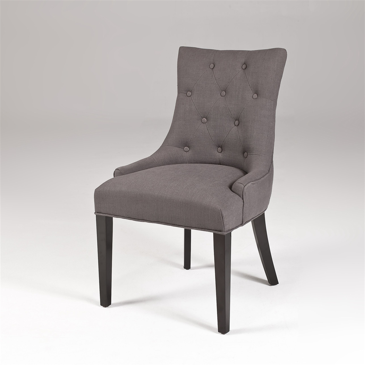 modern dining chairs for sale. seriena gray linen dining chair with button-tufting and barrel curved back, modern chairs for sale
