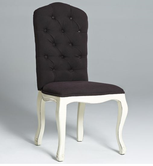 Tufted Dining Chair Black With White