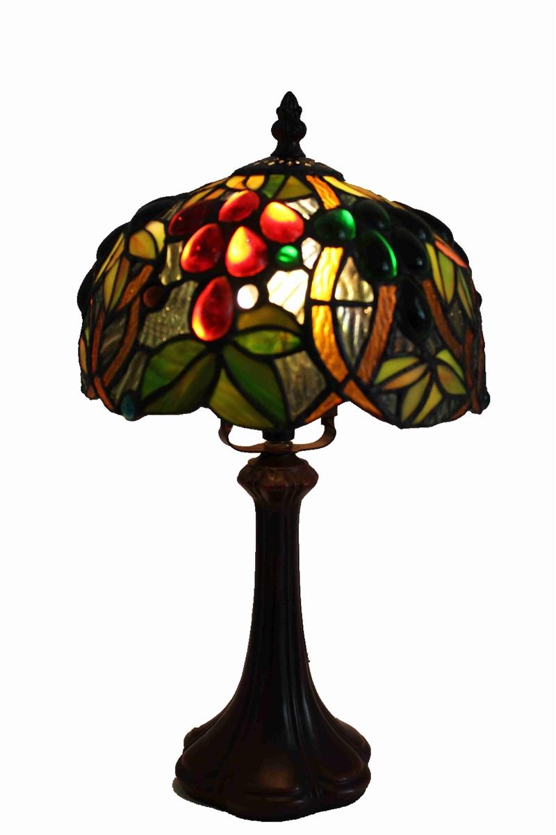 Tiffany Table Lamp 8 Inch Grape Vine Design Glass Lamp Shade With Zinc Base