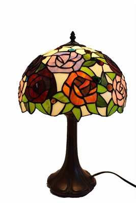 "Tiffany lamps |  Rose Flower Design Zinc Base | 12 inch Tiffany Lamp |Seriena Tiffany Lamp | Tiffany Lighting | 12 inch Tiffany lamp Shade | 12"" Tiffany Lamp Shade 