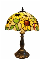 "Tiffany Lamps | Tiffany Style Table Lamps | Seriena Tiffany Lamp | Sun Flower Design Zinc Base | 12 inch Tiffany Lamp |Tiffany Style Lighting | 12 inch Tiffany lamp Shade | 12"" Tiffany Lamp Shade 