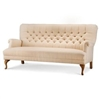Seriena La Rochelle Tufted Linen Sofa (Three seater) in Beige, 3 seater sofa, Solid Beige Linen Sofa, Solid Beige Sofas
