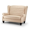 Seriena La Rochelle Tufted Back Sofa/Loveseat, Solid Linen Loveseat, Solid Beige Loveseat, Solid Beige Linen Loveseat