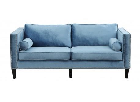 Seriena Melbourn Blue Velvet Sofa Three Seater 3 Solid
