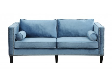 Blue Velvet Upholstered Sofa