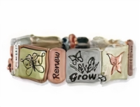 Butterfly Tri-tone Stretchy Bracelet: Jewelry & Gifts for Teachers