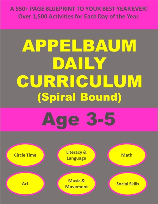 SPIRAL BOUND Book with 12 Months of Daily Curriculum Activities for Age 3-5