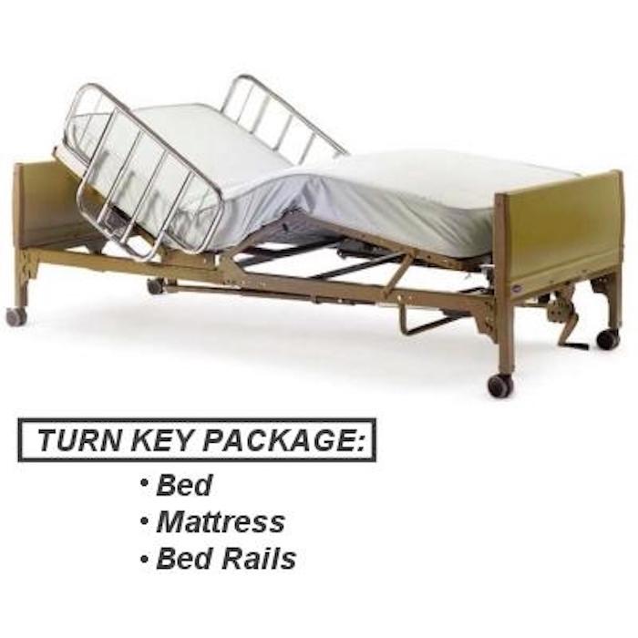 pro basics semi-electric hospital bed package w/mattress & rails