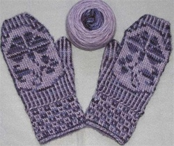 Morning Glory Mittens in Color Twined Knitting
