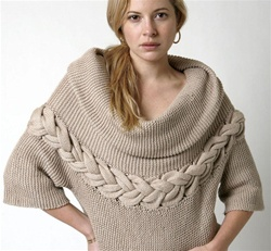 Cabled Yoke Pullover Sweater