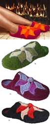 Felted Crochet Flower Clog Slippers
