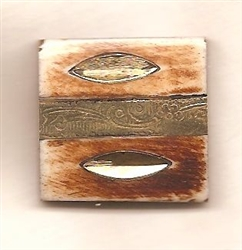 Square Bone Button with metal inlay
