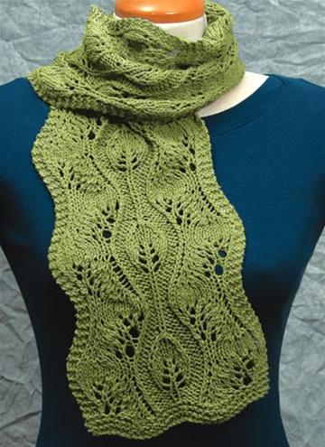 Wavy Lace Scarves Lace Knitting Pattern By Fiddlesticks Knitting