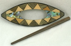 Oval Inlaid Shawl Closure with Wooden Stick Pin