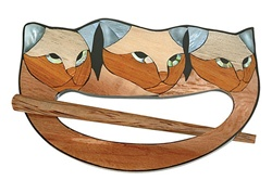 Love Cats! Inlaid Shawl Closure & Wooden Stick Pin
