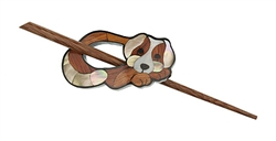 Little Puppy Inlaid Mother of Pearl Shawl Pin