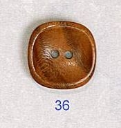 Square Wood Button 36
