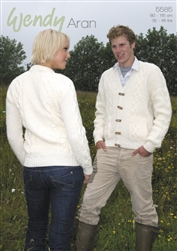 Round and V-neck Double Moss Stitch Jackets