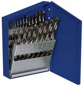Hanson 21 Piece Cobalt Fractional Straight Shank Jobber Length Drill Set w/Metal Index Case - AHN-63221