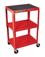Luxor AVJ42-RD Adjustable Height Red Metal A/V Cart
