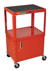 "Luxor AVJ42C-RD Red 42"" Adj Height Cart w/ Cabinet"