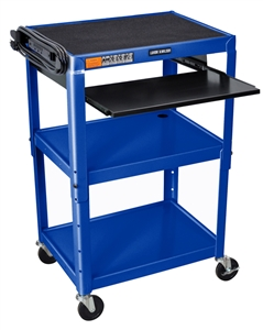 Luxor AVJ42KB-RB Adjustable Height Royal Blue Metal A/V Cart w/ Pullout Keyboard Tray
