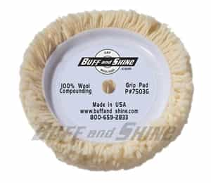"Buff N' Shine 7.5"" dia. X 1.5"" 100% 4-ply Twisted Wool Grip Pad ""Cutting Pad"" BFS-7503G"