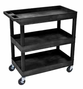 Luxor EC111-B Black 3-Shelf Tub Cart