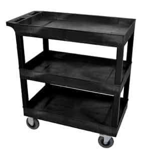 "Luxor EC111SP5-B Black Three Tub Shelf Cart w/ 5"" Casters"