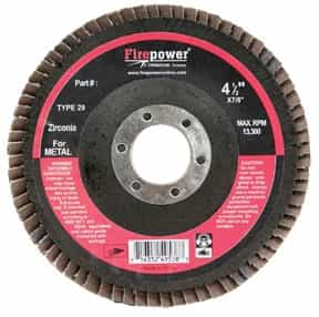 "Firepower Type 29 Flap Disc, 4-1/2"" x 7/8"", ZA 80 Grit FPW1423-3164"