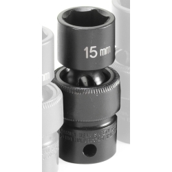 "Grey Pneumatic 3/8"" Drive 15mm Metric Universal Impact Socket GRE1015UM"