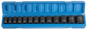 "Grey Pneumatics 13 Piece 1/2"" Drive Standard Length Fractional Impact Socket Set GRE1312"
