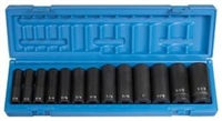 "Grey Pneumatic 1/2"" Drive 13 Piece 6 Point Deep Fractional Impact Socket Set GRE1312D"