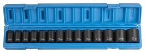 "Grey Pneumatics 14 Piece 1/2"" Drive 6 Point Standard Length Metric Impact Socket Set GRE1412M"