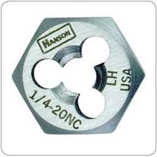 "Hanson 3/4"" - 16 NF High Carbon Steel Re-threading Right Hand Hexagon Fractional Die HAN7260"