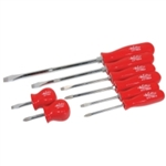 K Tool International 8 Piece Phillips and Slotted Screwdriver Set with Red Handles KTI19800