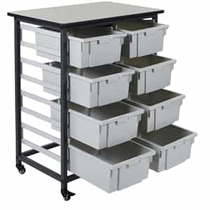 Luxor MBS-DR-8L Mobile Bin Storage Unit - Double Row 8 Large Bins