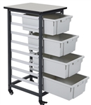Luxor MBS-SR-4L Mobile Bin Storage Unit - Single Row 4 Large Bins