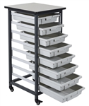 Luxor MBS-SR-8S Mobile Bin Storage Unit - Single Row 8 Small Bins