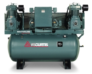FS-Curtis ML15+ 200G 15HP(2) Duplex Tank Mounted Electric Air Compressor w/Magnetic Motor Starter (3/60/200-208V - FML15C89D2S-A9L1XX, 3/60/230V - FML15C89D2S-A3L1XX, 3/60/460V - FML15C89D2S-A4L1XX)