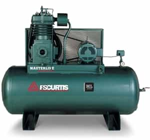 FS-Curtis ML30 200G Horizontal 30HP Simplex Tank Mounted Electric Air Compressor w/Magnetic Motor Starter (3/60/200-208V - FML30C98H2S-A9L1XX, 3/60/230V - FML30C98H2S-A3L1XX, 3/60/460V - FML30C98H2S-A4L1XX)