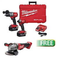 "Milwaukee 2997-22 M18 FUEL™ 2-Tool Combo Kit - Hammer Drill/Impact w/Free M18 FUEL™ 4-1/2""/5"" Grinder (Bare Tool)- MWK-2997-22GR"