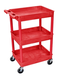 Luxor RDSTC111RD Red Utility 3-Shelf Tub Cart