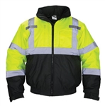 SAS Safety Hi-Viz Class 3 Hooded Yellow Bomber Jacket Sizes Available: Medium 690-1508, Large 690-1509, X-Large 690-1510, 2X-Large 690-1511 & 3X-Large 690-1512