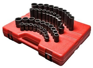 "Sunex Tools 1/2"" Drive 39 Piece 12 Point Metric Master Impact Socket Set SUN2699"