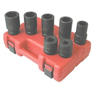 "Sunex Tools 1"" Drive 7 Piece 6 Point Metric Deep Impact Socket Set SUN5697M"
